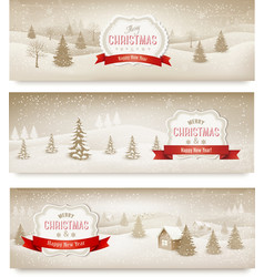 Three christmas holiday landscape banners vector image