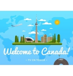 Welcome to Canada poster with famous attraction vector image vector image