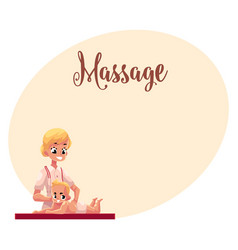 Young beautiful therapist doing baby massage vector
