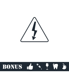 High voltage icon flat vector