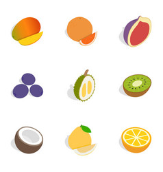 Food icons isometric 3d style vector