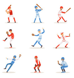 Professional league baseball players on the field vector