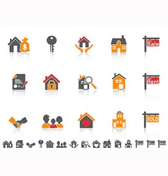Simple color real estate icon set vector