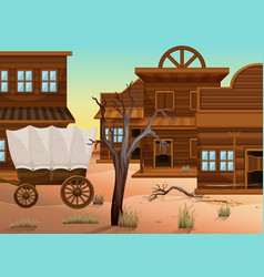 Wagon and many shops in western town vector