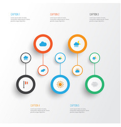 Climate flat icons set collection of overcast vector