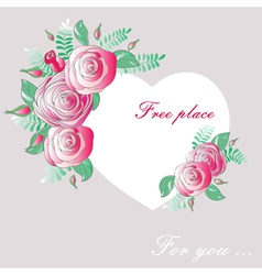 Vignette heart of flowers vector