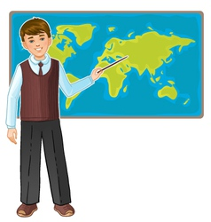 Schoolboy at map of the world eps10 vector
