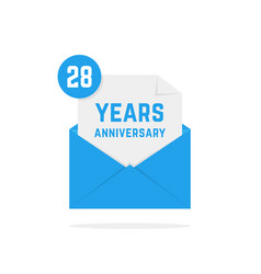 28 years anniversary icon in blue open letter vector image vector image