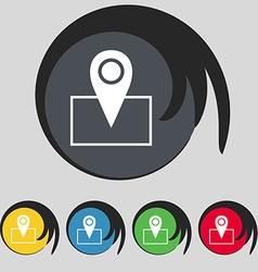 Map pointer icon sign symbol on five colored vector