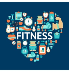 Heart symbol with fitness flat icons vector
