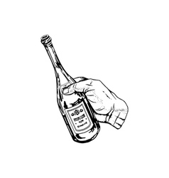 Bottle of wine in hand vector