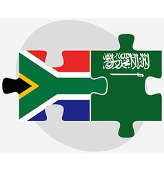South africa and saudi arabia flags in puzzle vector