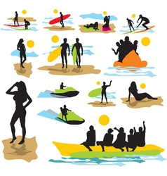 Set silhouettes on the beach vector