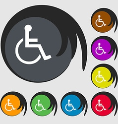 Disabled icon sign symbol on eight colored buttons vector