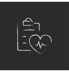 Heartbeat record icon drawn in chalk vector