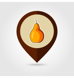 Pear mapping pin icon harvest thanksgiving vector