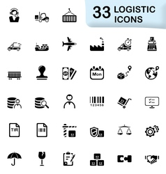 33 black logistic icons vector image
