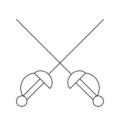 Cross swords thin line icon vector