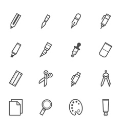 Stationery and painting tools icons vector