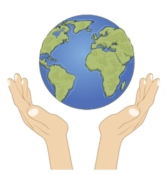 Hands holding earth globe with care vector