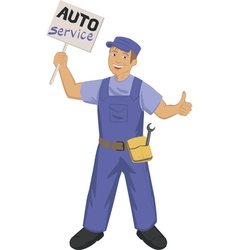 auto mechanic with poster vector image