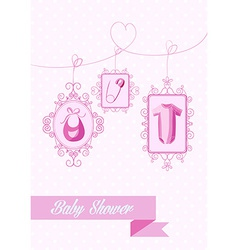 Baby shower girl hanging elements vector image vector image