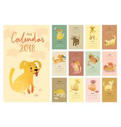 calendar 2018 cute monthly calendar with vector image