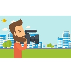 Cameraman with video camera vector image