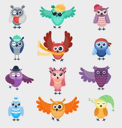 cartoon owl night fly bird cartoon cute style vector image vector image