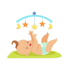 Cute happy naked baby in a diaper lying in bed and vector