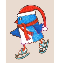 doodle penguin ice skating marker merry christmas vector image