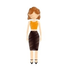 drawing avatar woman elegant gorgeous vector image
