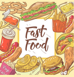 fast food hand drawn background with burger vector image vector image