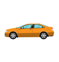 generic orange coupe car isolated on white vector image