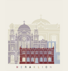 heraklion skyline poster vector image