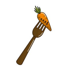 Organ food fork with carrot vegetable vector