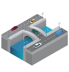 Road and bridge over the river city traffic vector