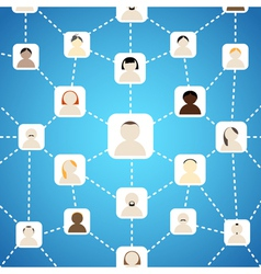 Scheme of social network on blue vector image vector image