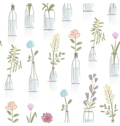 Seamless pattern design with floral pots vector image vector image