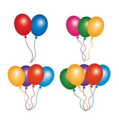 Set colored balloons decoration ornament party vector