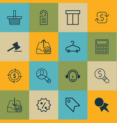 Set of 16 e-commerce icons includes recurring vector