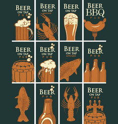 set of business cards for pub on the topic of beer vector image vector image