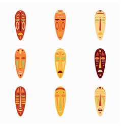 Set of colored national ethnick african masks vector