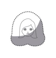 sticker silhouette cartoon human female sad face vector image