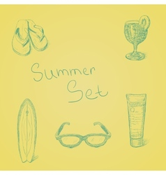 Summer hand drawn set vector image vector image