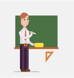 Teacher standing in front of blackboard holding vector
