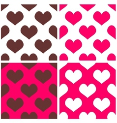 Tile pattern set with pink and brown hearts vector image vector image