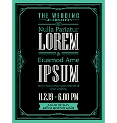 Vintage Art deco Wedding invitation template vector image