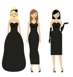 Women in black dresses female night evening vector