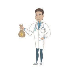 Young hispanic doctor holding a money bag vector